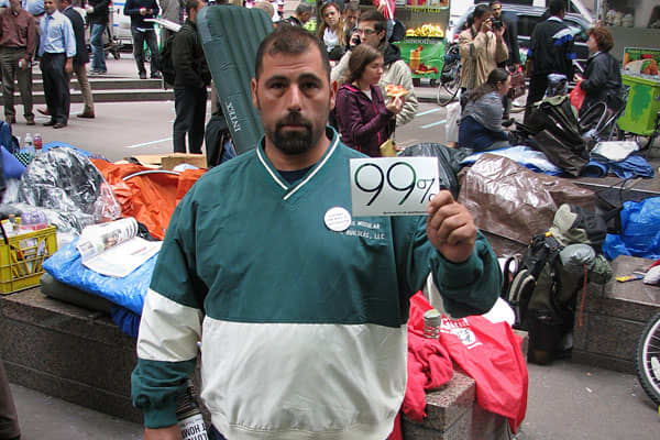 "Tom DeMatteis39 Connecticut Small business owner 3 daysEnd the Federal ReserveTom DeMatteis is a single father and the owner of a pizzeria in Connecticut who joins in the protests whenever he can.""What I'm doing out here is showing support. I'm taxed damn near to death, from property tax to income tax to security tax, it's tax, tax, tax, tax,"" he said.DeMatteis's main concern, however, is with the Federal Reserve.""The real grass roots of 'Occupy Wall Street' is to end the Federal Reserve, get th"