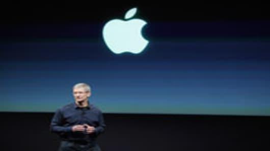 Apple CEO Tim Cook speaks at the event introducing the new iPhone at the company's headquarters October 4, 2011 in Cupertino, California. The announcement marks the first time Cook introduces a new product since Apple co-founder Steve Jobs resigned in August.