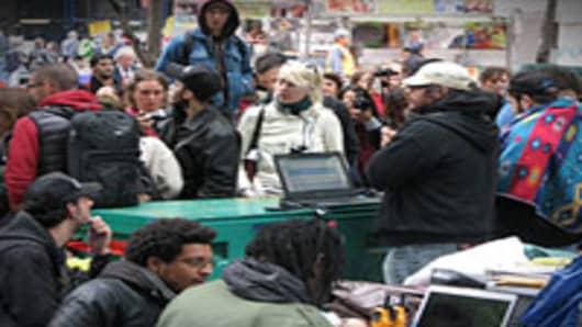 Protestors on Wall Street, October 3, 2011.