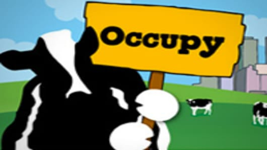Ben and Jerry cow icon supporting Wall Streeet protest
