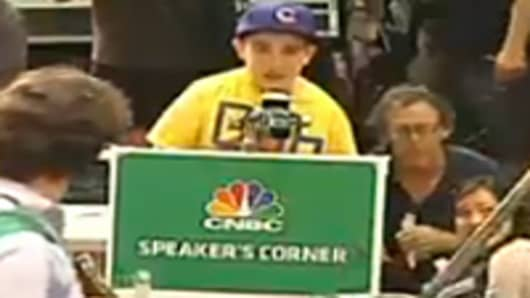 CNBC Speaker Corner at Wall Street Protest