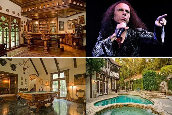 Location: Encino, CaliforniaPrice: $3,333,000Beds / Baths: 5 / 5Square Footage: 5,057This English-style  was the home of the diminutive singer with the big voice who temporarily replaced Ozzy Osbourne in Black Sabbath, and who was also famous for fronting Rainbow, Dio, and other bands.The home went on the market a few months after Dio's death in 2010, but it didn't sell and was taken off the market this spring. It wasn't for lack of cool features: The house, which was built in 1981, has 200-year