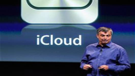 Apple's senior vice president of Internet Software and Services Eddy Cue speaks about iCloud during introduction of the new iPhone 4s at the company's headquarters October 4, 2011.