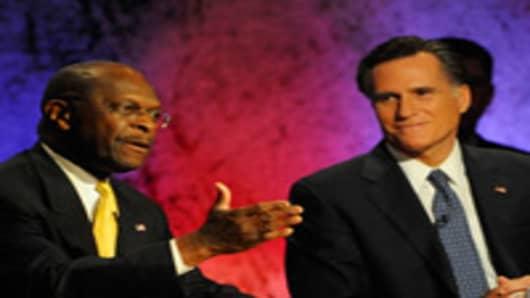 GOP Debate, Herman Cain, Mitt Romney