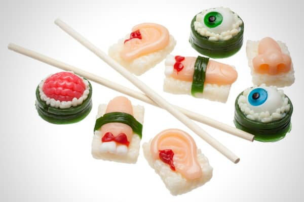 Company: Frankford Candy Price: $5.00 Here's something to serve the zombies that come knocking on your door. It's body part sushi, featuring severed fingers, ears, some brains, and even a nose. Chopsticks are included with this eight-piece feast.