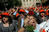Demonstrators shout slogans during a protest against plans for new austerity measures on October 19, 2011 in Athens, Greece.