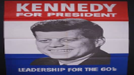 John F. Kennedy leadership for the 60s poster