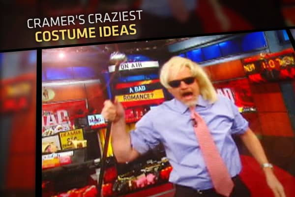 "Jim Cramer will go to any length to help homegamers understand the complex world of investing. To get his point across, the ""Mad Money"" host has donned some pretty interesting outfits, including everything from a full HazMat suit to dressing as National Basketball Association star LeBron James. Cramer intended to better explain the stock market, but he also provided for some great Halloween costume ideas. Click ahead for some of Cramer's craziest costumes, as seen on ""Mad Money."""