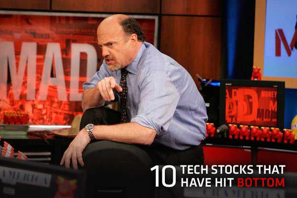 "Now is the time to invest in technology stocks, Cramer said, because the sector is bottoming out.The ""Mad Money"" host said the sector won't likely see a V-shaped bottom with an ultra-fast rebound. Tech is, however, primed for a U-shaped bottom despite a tough market environment and sluggish economy. In the last nine of 10 years, tech has bottomed and begun to inch higher between mid-September and end-October. Business is typically slow in the summer months, but picks up in the fall when 1) gadge"