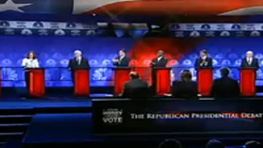 Candidates on stage at the CNBC GOP candidates debate.