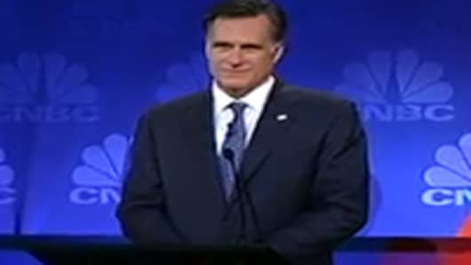 Mitt Romney at the CNBC GOP candidates debate.