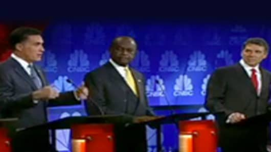 Mitt Romney, Herman Cain, and Rick Perry at the CNBC GOP Debate