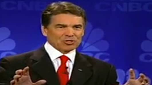 Rick Perry speaks at the CNBC Republican Debate.