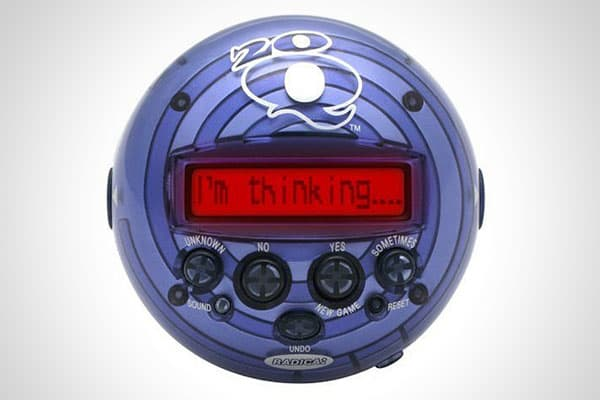 20Q Artificial Intelligence Game Price: $9.98 Do you remember playing the game 20 questions when you were a kid? Now you can play it by yourself. This little gadget from Mattel's Radica will ask you 20 questions to narrow down what you're thinking. If its first guess is wrong, it will ask you five more questions and take a final stab at it. You can answer yes, no, sometimes, or unknown. The fun here is that its success rate is pretty impressive.