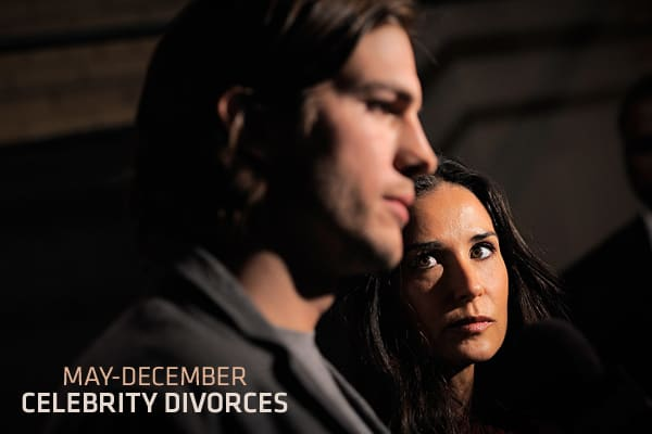 On Nov. 17, 2011, after six years of marriage, celebrity couple Demi Moore and Ashton Kutcher . The pair had made headlines when they first emerged as a couple, and very few of those headlines ran without pointing out the 16-year age difference between the two of them.The age gap between Moore and Kutcher made their union a classic May-December romance, and the list of celebrities who have engaged in such unions is long. Almost as long, however, is the list of such couples who couldn't keep thei