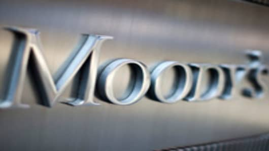 Moody's Investors Service Inc. signage is displayed outside of the company's headquarters in New York.