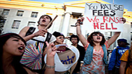 University of California, Berkeley students protest on campus as part of Occupy Wall Street movement.