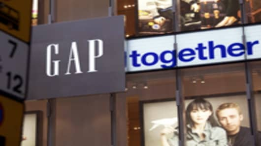 The Gap Inc. logo is displayed outside the store in Hong Kong, China.