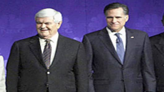 GOP Candidates Newt Gingrich and Mitt Romney
