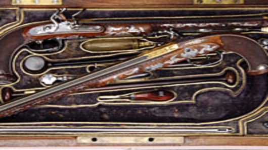 Gold and silver embellished flintlocks made by Napoleon's gunsmith, Nicholas-Noël Boutet. Auctioneer James D. Julia of Fairfield, Maine sold the pricey pistols for $132,250 during his annual spring firearms auction in 2010. The auction grossed $8.5 million.