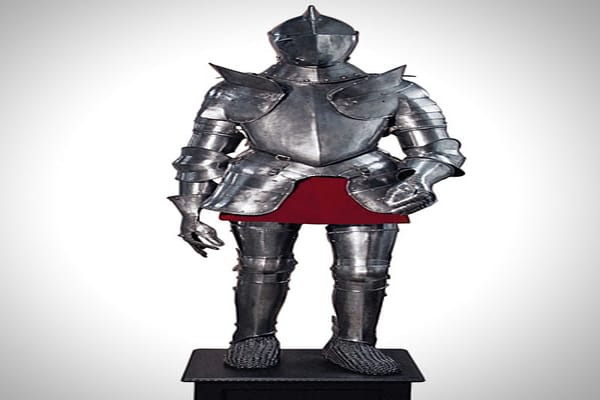 This suit of European armor, circa 1570, is an example of plate armor – sheets of interconnected steel. Plate armor replaced riveted mail in the 14th century, according to Britannica.com. This set was sold by William Fagan for $56,000.
