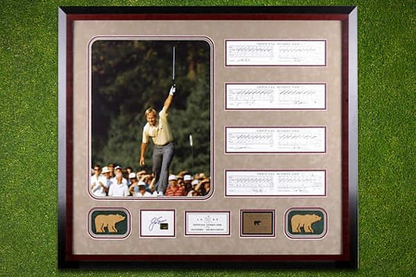 This 16x20 autographed color photo of Jack Nicklaus features him celebrating his famous birdie putt on the 17th hole during the 1986 Masters at Augusta. He went on to become the oldest winner of the tournament. This comes with an official replica scorecard, signed by Nicklaus. The photo is valued at $1,105 on SportsMemorabila.com.