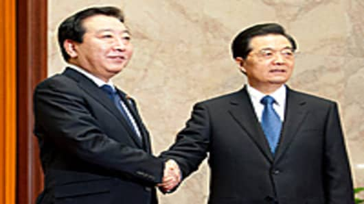 Prime Minister Yoshiko Noda and President Hu Jintao