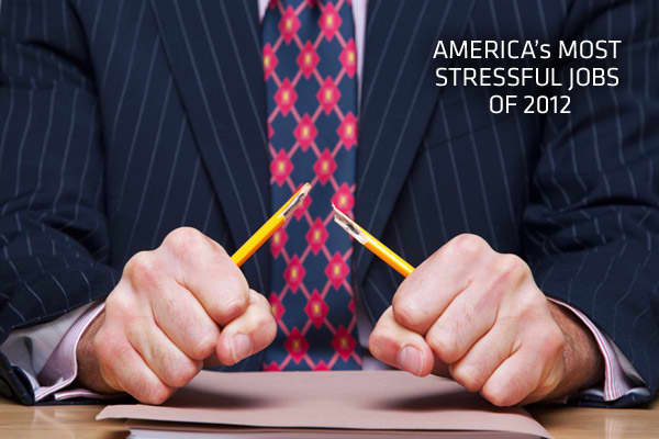 "Bring up the word stress in a conversation and you'd better clear your schedule for the next hour. A whopping 40 percent of American workers say their jobs are very or extremely stressful, according to the National Institute of Occupational Safety and Health. Of course, some jobs are more stressful than others. Job-search portal CareerCast has once again crunched the statistics and come up with their list of the 10 in America. ""Not all jobs are created equal when it comes to stress levels,"" said"