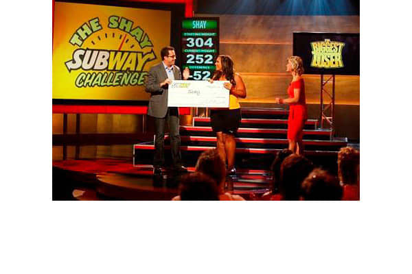 "Number of occurrences: 533Network: NBC""The Biggest Loser,"" the competitive weight loss reality show, finds multiple ways to integrate products into the show, whether it's where the contestants work out, which food they use in cooking or ""trainer tips"" that mention specific brands.The official sponsor of the show is Subway, which is mentioned throughout the show. Contestants are shown taking eating Subway sandwiches and learning about the sandwich's nutritional content. Subway is even incorporate"