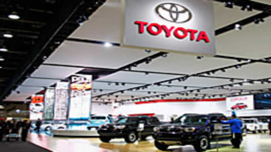 The Toyota exhibit during a media preview day at the 2012 North American International Auto Show in Detroit, Michigan.