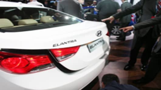 The Hyundai Elantra is viewed on the floor of the the New York International Auto Show April 20, 2011 in New York City.