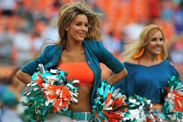 While the Miami Dolphins haven't given football fans much to look at on the gridiron in recent years, the same can't be said for the team's cheerleaders. The Dolphins are the only NFL team to have links to the cheerleaders Twitter and Facebook pages right on the front of its website. There are plenty of photos that can be enlarged, as well as high-quality video. The Dolphins cheerleaders take their auditions very seriously, holding prep classes before their auditions twice per week from February