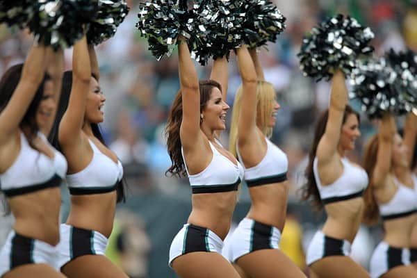 "The Eagles cheerleader site is the only one in the league that, before entering, displays a button warning you of ""mature content."" The Eagles continue to be among the most aggressive cheerleading squads. The team was the first team to launch a swimsuit calendar app this year (cost $1.99 on the Android), it encouraged fans to ""Celebrate the Holidays with the Cheerleaders,"" and members of the squad maintain a robust blog. The squad has engaged in a number of activities, including a trip to the U."