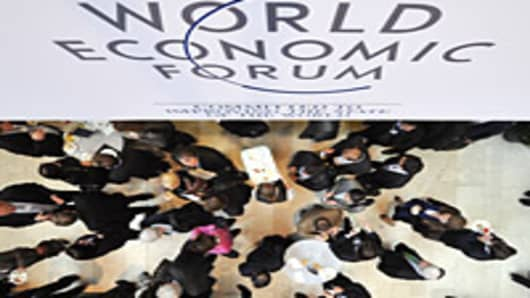 Participants have lunch on the opening day of the World Economic Forum (WEF) annual meeting on January 26, 2011 in Davos.