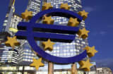 A Euro sign sculpture stands in front of the European Central Bank&#039;s (ECB) headquarters.