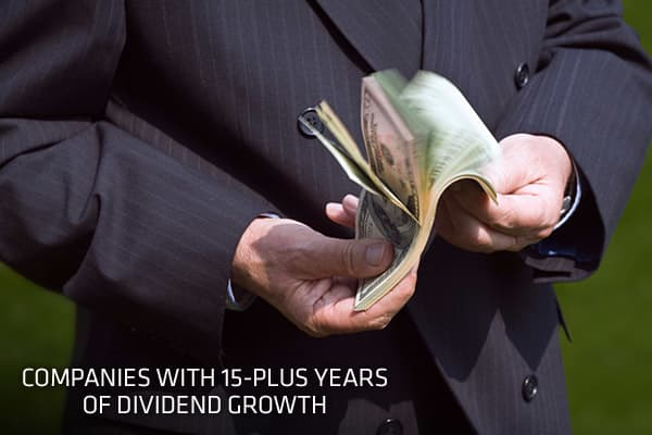 Investors are reassured — and companies consider it a point of pride — when executives note an uninterrupted track record for raising dividends. Dividend payments also offer investors a cushion on their investment, increasing the overall returns of the stock. Historically, dividend payments have accounted for more than 40 percent of the S&P 500's total returns. In the S&P 500, approximately 6 percent of companies have raised their dividend for at least 15 consecutive years or more, based on data