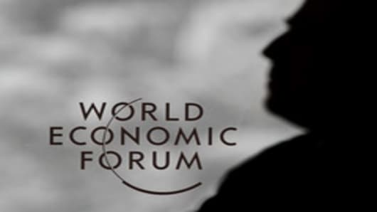 A sign of the World Economic Forum (WEF) is seen at the Congress center in the Swiss resort of Davos on January 24, 2012.