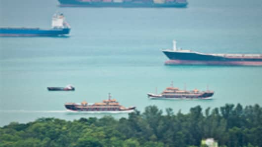 Empty container ships on The Straits of Singapore.