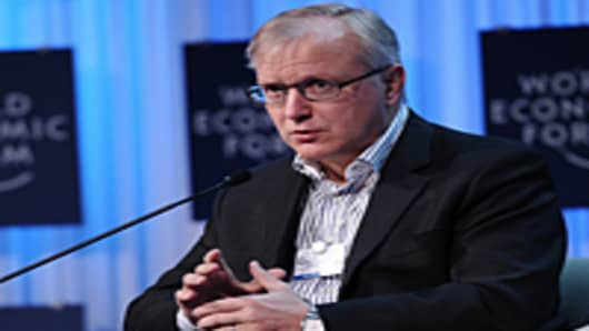European economic commissioner Olli Rehn at the World Economic Forum.
