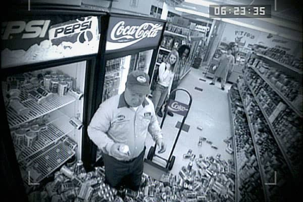 Another really clever spot where a Coca-Cola driver tries to take a Pepsi and a slew of cans fall to the floor. Extra touch—the security camera view.