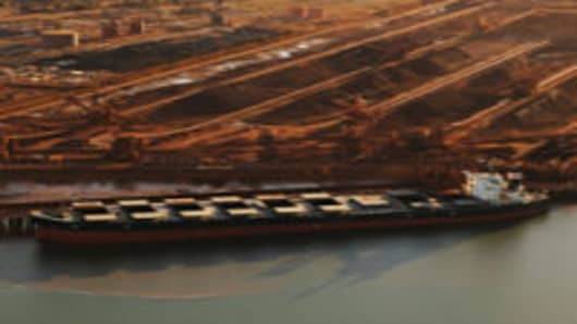Aerial of iron ore ships at Port Hedland.
