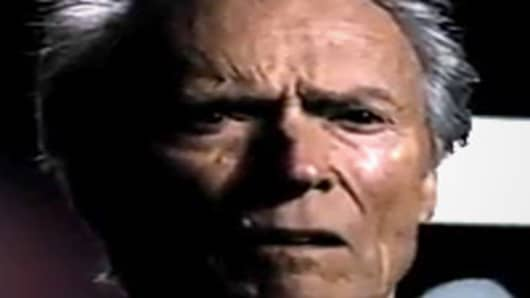 Clint Eastwood during Super Bowl XLVI's Chrysler commercial