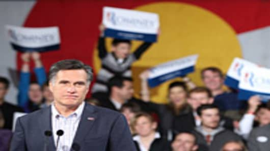 Republican presidential candidate Mitt Romney speaks to supporters at a rally in the Tivoli Student Union on the Auraria Campus on February 7, 2012 in Denver, Colorado.
