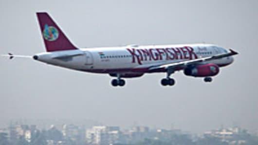 A Kingfisher Airlines Ltd. aircraft prepares to land at Mumbai International Airport