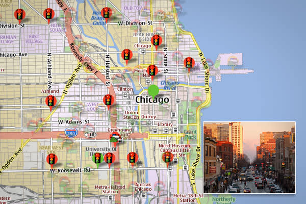 """Chicago has the MOST red light cameras, more than any other U.S. city,"" Farrell says, although according the GPS community POI Factory, which maintains an updated list of red light and speed cameras, Chicago is number two in the country, with a whopping 418 traffic–enforcement cameras in its metro area. http://www.poi-factory.com/poifiles/us/red-light-cameras"