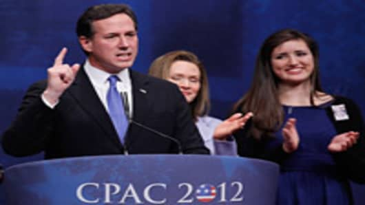 Republican presidential candidate Rick Santorum is joined on stage by his family as he delivers remarks to the Conservative Political Action Conference (CPAC) at the Marriott Wardman Park February 10, 2012 in Washington, DC