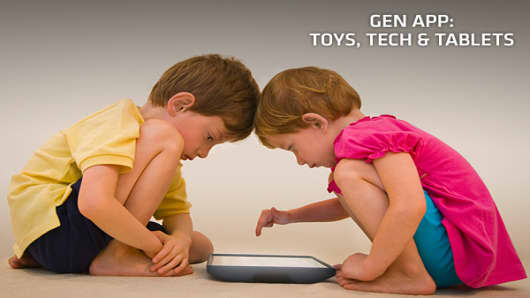 If you have ever had to wrestle your iPad from your child's clutches, you know that kids love playing on tablets and smartphones. The trend has not been missed by toymakers. They know that even before a child can read or speak, they have an affinity for these devices.Enter the biggest trend at this year's American International Toy Fair: toys that are either based on apps, or can be used with tablets and smartphones. The trend began last year, but this year the volume of products in this categor