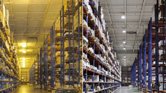 "A ""before and after"" image that shows the Digital Lumens lighting system in use at the headquarters facility of Maines Paper and Food Service, Inc. located in Conklin, NY."