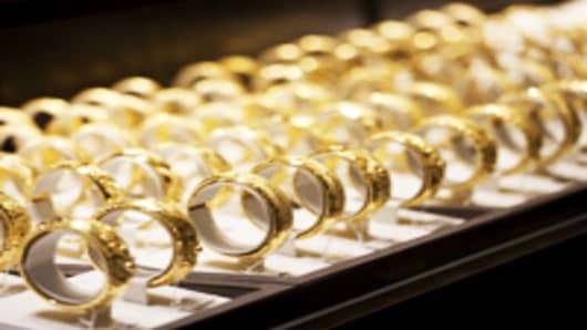 Gold bracelets are displayed at a Chow Tai Fook Jewellery Group Ltd. store in Hong Kong, China.