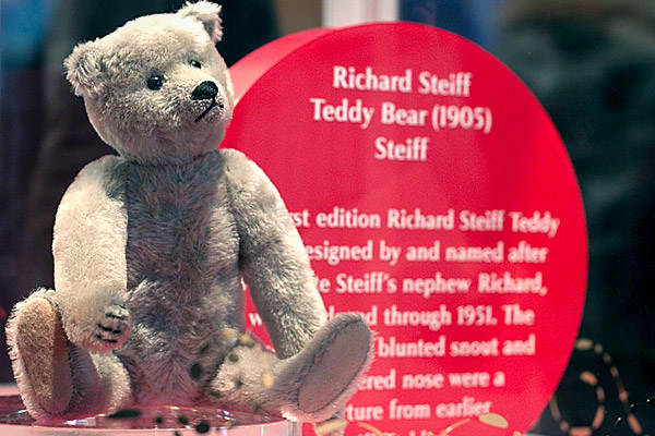 Company: SteiffFAO Schwarz is also well-known for the life-sized stuffed animals it sells. These plush critters fill the Grand Hall. So it seems only fitting that the collection of toys includes a teddy bear from Stieff, one of the world's oldest designers of stuffed animals.The gray mohair bear pictured here is a 1905 Richard Steiff Teddy Bear, which was designed by and named after Margarete Steiff's nephew Richard. This style was produced through 1951, and was a departure from Stieff's earlier